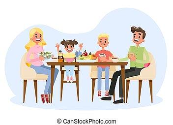 famille, parents, petit déjeuner, cuisine, table., avoir, heureux