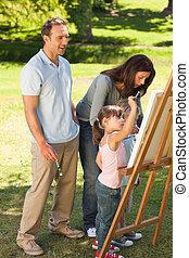 famille, peinture, ensemble, dans parc