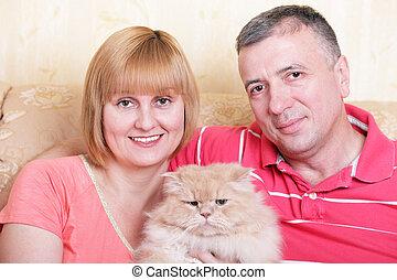 famille, pelucheux, gratuite, chat, leur, temps, maison, ...