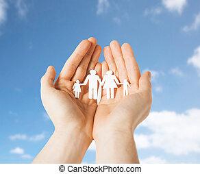 famille, pictogramme, haut, papier, tenant mains, fin