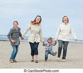 famille, plage
