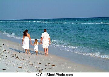 famille, plage, promenade
