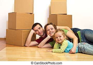 famille, plancher, pose, leur, nouvelle maison, heureux
