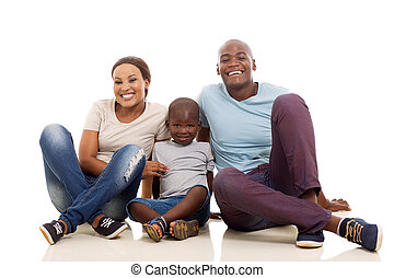 famille, plancher, séance, jeune, américain, africaine