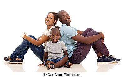 famille, plancher, séance, jeune, américain, afro
