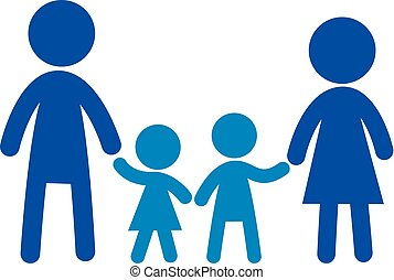 famille, plat, icon., signe, family., vecteur, logo