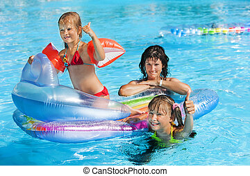 famille, pool., natation