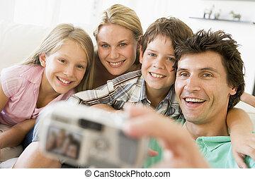 famille, prendre, appareil photo, numérique, portrait, soi