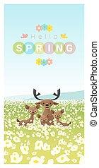 famille, printemps, cerf, 2, fond, bonjour, paysage