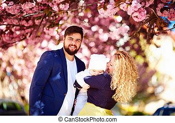 famille, printemps, parc, fleurir, portrait, heureux