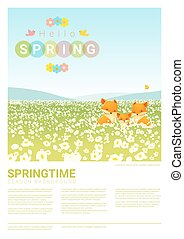 famille, printemps, renard, 2, fond, bonjour, paysage