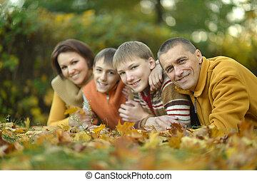 famille, quatre, automne, délassant, parc