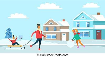 famille, récréation, vecteur, hiver, illustration