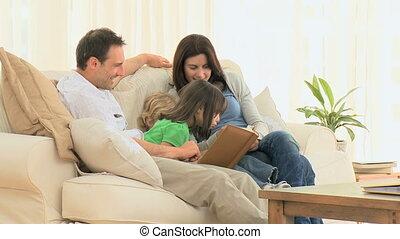 famille, regarder, agréable, photo