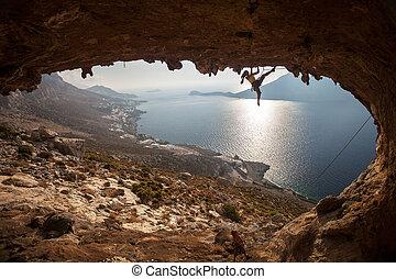 famille, rocher, greece., kalymnos, grimpeur, sunset.