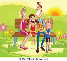 famille, séance, dans parc