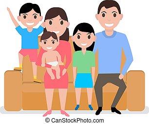 famille, séance, sofa, vecteur, dessin animé, heureux