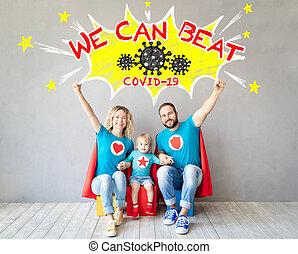 famille, séjour, maison, superheroes, heureux