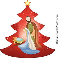 famille, saint, arbre, isolé, scène, nativité, fond, noël, rouges