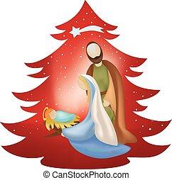 famille, saint, arbre, scène, nativité, fond, noël, rouges