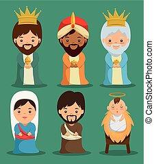 famille, saint, scène, nativité, joyeux noël