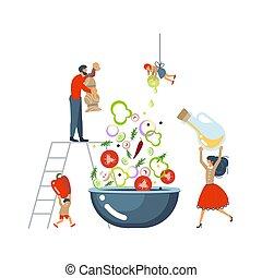 famille, salade, concept., cuisine, ensemble, heureux