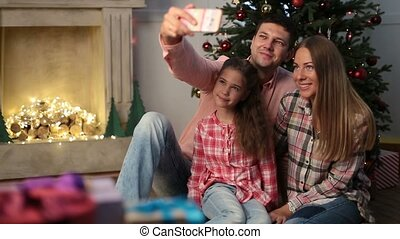 famille, selfie, veille, temps, maison, noël
