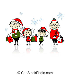 famille, shopping., noël ensemble, heureux
