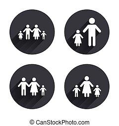 famille, signe., deux, parents, enfants, kids.