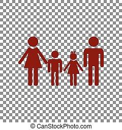 famille, signe., rouge foncé, arrière-plan., transparent, icône