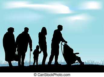famille, silhouettes