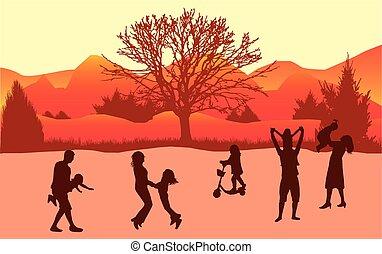 famille, silhouettes, dans, nature.