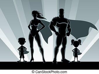 famille, silhouettes, superhero