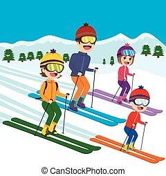 famille, ski, neige
