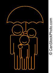famille, sous, parapluie