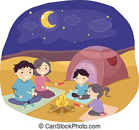 famille, stickman, désert, illustration, camping