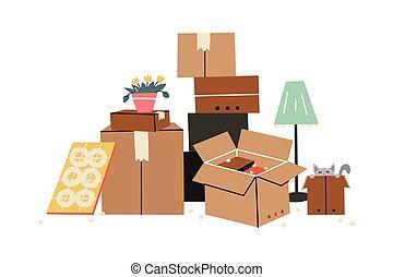 famille, style, home., déplacé, items., boîtes, divers, ...