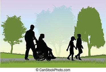 famille, sur, a, promenade