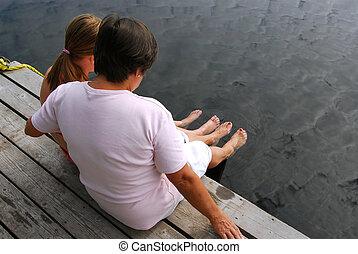 famille, sur, dock