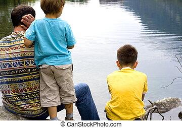 famille, sur, lac