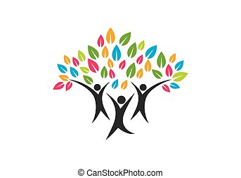 famille, symbole, arbre, conception, logo, icône