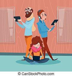 famille, tablette, communication, ordinateur portable, téléphone numérique, bavarder, social, appareil, réseau
