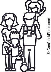 famille, tenue, coups, balle, mère, père, illustration, épaules, fils, vecteur, editable, signe, fils, s, ligne, fond, icône