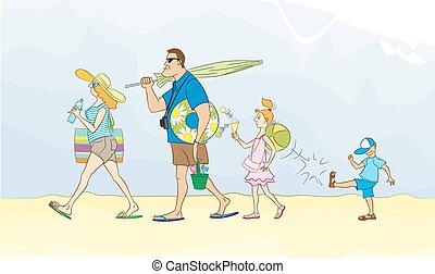 famille, va, mer