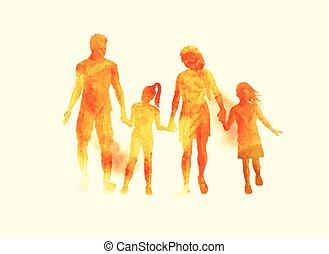 famille, vecteur, jeune, aquarelle, heureux