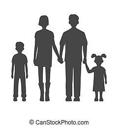 famille, vecteur, silhouette.
