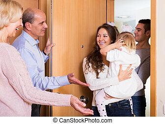 famille, visiter, deux, parents, grandiose, filles