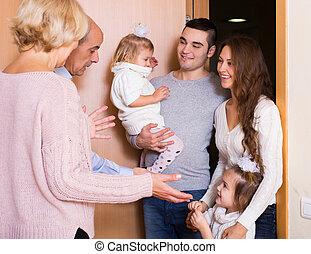 famille, visiter, grands parents
