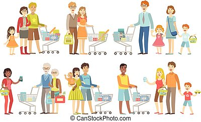 familles, épicerie commerciale, ensemble
