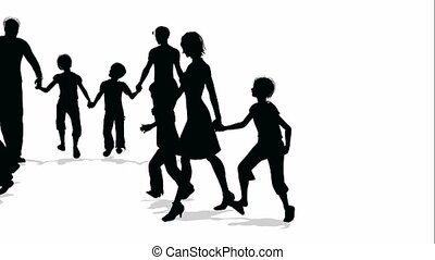familles, beaucoup, silhouette